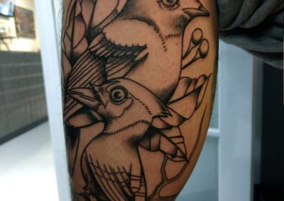 image of birds tattoo done by Mike Welch of Skin Deep